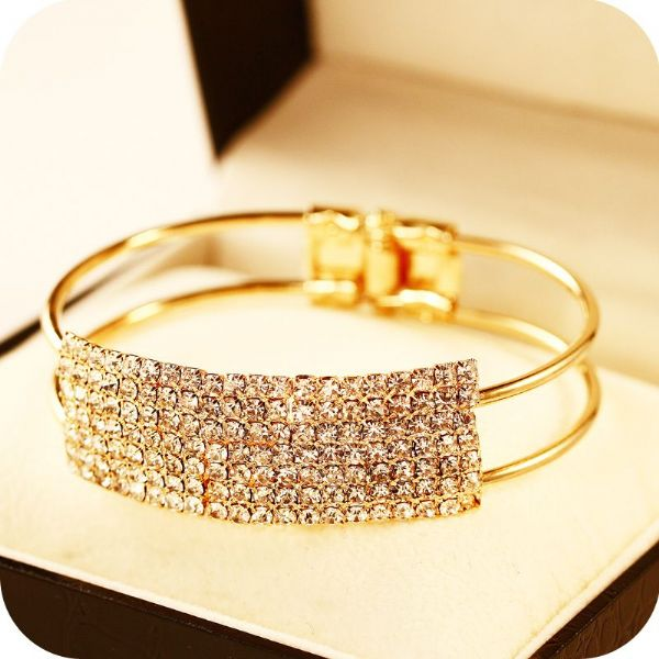 Wide Crystal Star Studded Bracelet